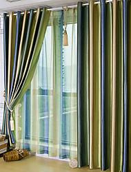 dois painéis de tarja Mediterrâneo cortinas de painel de poliéster sala de estar cortinas
