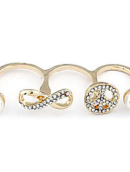 Gold Plated Alloy Pearl Infinity Pattern Opening Double Rings