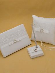 White Satin Wedding Collection Set Avec bowknot (3 Pieces)