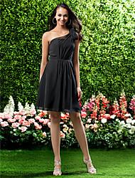 LAN TING BRIDE Knee-length One Shoulder Bridesmaid Dress - Short Sleeveless Chiffon