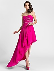A-Line Sweetheart Knee Length Asymmetrical Chiffon Cocktail Party Evening Dress with Beading by TS Couture®