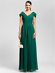 Floor-length Chiffon Bridesmaid Dress - Dark Green Plus Sizes / Petite Sheath/Column V-neck