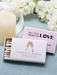 Wedding Décor Personalized Matchboxes - Toasting Flutes (Set of 12)