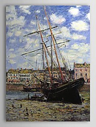 Famous Oil Painting Boat at Low Tide at Fecamp by Claude Monet