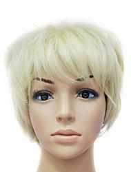 Capless 100% Echthaar Blonde kurze glatte Haare ca. 10 cm