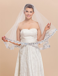1 Layer Marvelous Elbow Wedding Bridal Veil With Lace Applique Edge