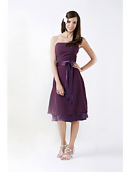 Knee-length Chiffon / Stretch Satin Bridesmaid Dress-Plus Size / Petite A-line / Princess Strapless
