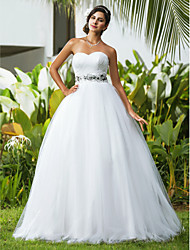 Ball Gown Plus Sizes Wedding Dress - Ivory Floor-length Sweetheart Tulle