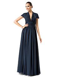 Formal Evening/Military Ball/Wedding Party Dress - Dark Navy Plus Sizes Sheath/Column V-neck Floor-length Chiffon
