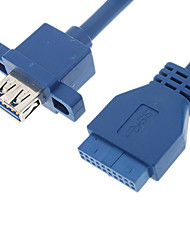 USB 3.0 20P Female to AF Cable with Nut (Blue, 1 m)