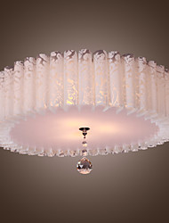 Comtemporary Flush Mount Lights with 3 Lights in White Round Shade