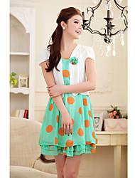 Women's Casual Polka Dot Swing Dress , Asymmetrical Above Knee Cotton