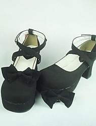 Zapatos Punk Lolita Tacón alto Zapatos Un Color 7.5 CM Negro Para Mujer Cuero Sintético/Cuero de Poliuretano