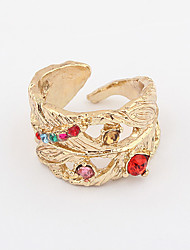 Gold Plated Alloy Zircon Leaf Pattern Opening Ring (Assorted Colors)