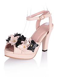 Damenschuhe - Sandalen / High Heels - Kleid - Kunstleder - Blockabsatz - Fersenriemen - Rosa