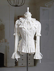 Long Sleeve Ruffled Collar White Cotton Princess Lolita Blouse