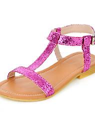 Élégant en simili-cuir Sandales plates à talons hauts avec boucle / Glitter Party / Evening Shoes mousseux (plus de couleurs)