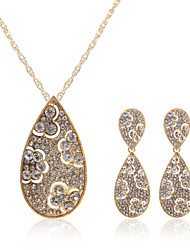 Jewelry Set Women's Anniversary / Wedding / Engagement / Birthday / Gift / Party Jewelry Sets Alloy Rhinestone Necklaces / Earrings Gold