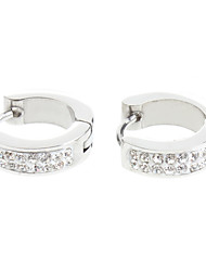 Two Row Of Diamond Stainless Steel Earrings