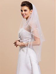 2 Layers Fingertip Wedding Bridal Veil With Beaded Edge