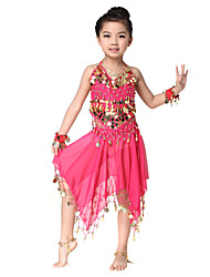 Performance Dancewear Pretty Chiffon with Coins Belly Dance Outfit Top and Skirt For Children