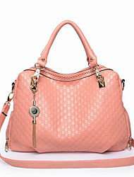JUST STAR Pink Embossing Tassel Tote/Shoulder Bag