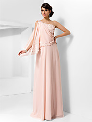 A-Line Princess One Shoulder Floor Length Chiffon Prom Dress with Draping by TS Couture®