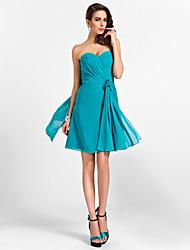 Retrouvailles robe de demoiselle d'honneur au genou en mousseline de soie robe ligne chérie