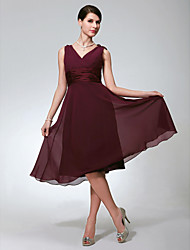 Lanting Knee-length Chiffon Bridesmaid Dress - Burgundy Plus Sizes / Petite A-line V-neck