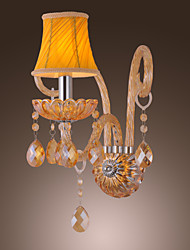 Artisitc Wall Light with Fabric Shade Amber Crystal Chandelier Feature Glass Horn