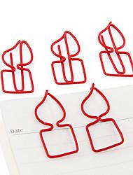 Queima forma de vela de metal clipes de papel (10pcs cor aleatória)