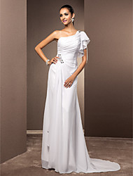 Lan Ting Sheath/Column Plus Sizes Wedding Dress - White Sweep/Brush Train One Shoulder Chiffon