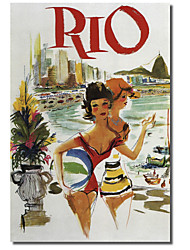 Printed Canvas Art Vintage Rio Travel Poster by Vintage Apple Collection with Stretched Frame