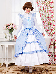 Sleeveless Floor-length Sky Blue Cotton Country Lolita Dress