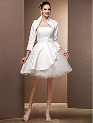 Lanting Bride Princess Petite / Plus Sizes Wedding Dress-Knee-length Strapless Satin / Tulle