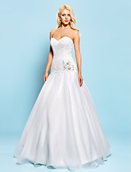Fit & Flare Plus Sizes Wedding Dress - Ivory Floor-length Sweetheart Lace/Organza