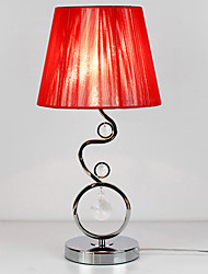Contemporary Table Light with Elegant Red Pleated Fabric Shade Crystal Decor 220-240V