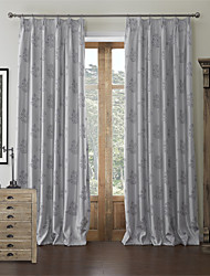 (One Panel)Country Jacquard Floral Lined Curtain