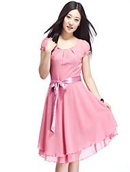 Women's Dress Knee-length Short Sleeve Blue / Pink / Black Summer