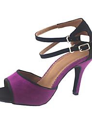 Customizable Women's Dance Shoes Latin/Ballroom Suede Stiletto Heel Black/Green/Purple