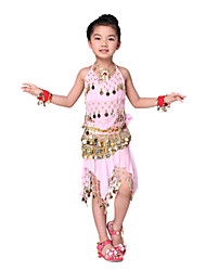 Dancewear Chiffon with Coin Belly Dance Outfits Top and Belt and Skirt For Children More Color