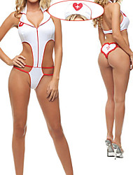 Hot Girl White Polyester Leotard Nurse Suit (2 Pieces)