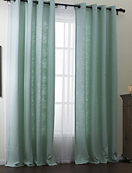 (One Panel) Modern Solid Blend Polyester Cotton Eco-friendly Curtain