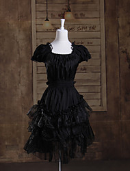 Short Sleeve Short Cotton Black Gothic Princess Lolita Dress