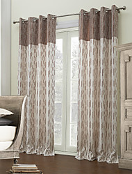 Designer Two Panels Stripe Brown Bedroom Polyester Panel Curtains Drapes