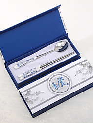 Blue-and-white Ceramics Design Spoon and Chopsticks Set Wedding Favor