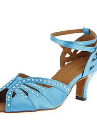 Customizable Women's Dance Shoes Latin/Ballroom Satin Customized Heel Black/Blue