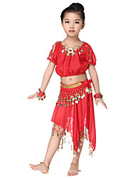 Dancewear Chiffon with Coins Belly Dance Outfit Top and Belt and Skirts For Children More Colors