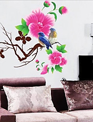 Red Flower and Birds Wall Sticker