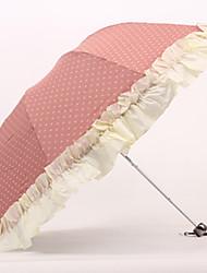 Ruffled Trim Polk Dots Sweet Lolita Folding Umbrella